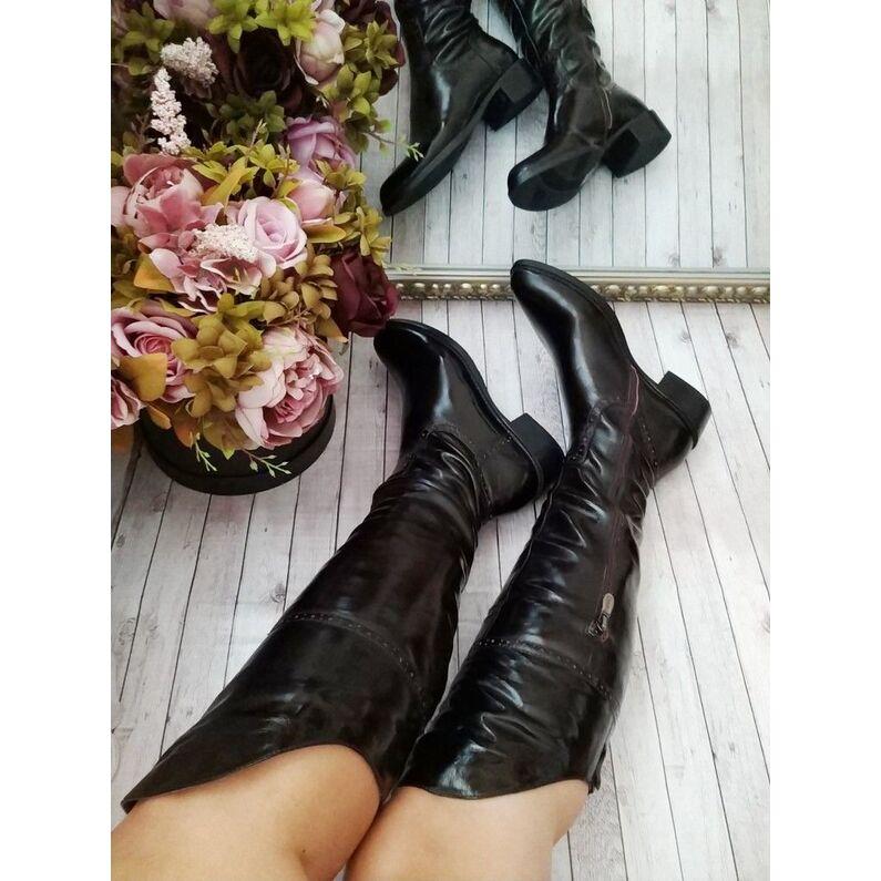 Madingi odiniai tamsiai rudi batai