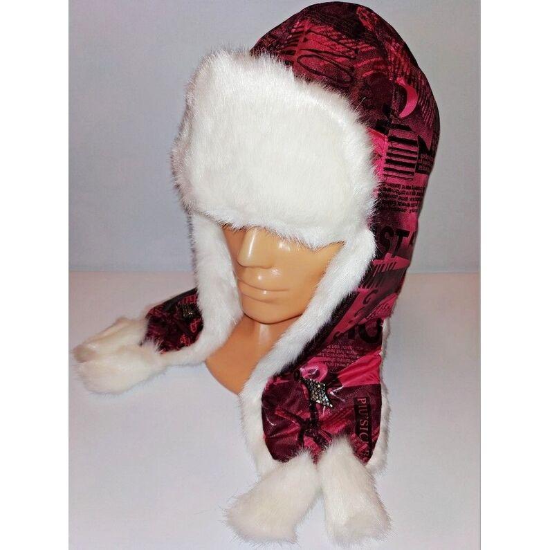 Stilinga ružavos spalvos kepurė su kailiu